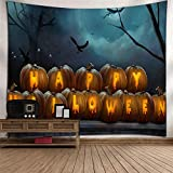 DHHY Tapiz De Poliéster De Impresión 3D, Tapiz De Tapiz De Impresión De Calabaza De Halloween, Tapiz De Decoración del Hogar De Halloween