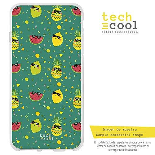 Funnytech Funda Silicona para Huawei P8 Lite 2017 [Gel Silicona Flexible, Diseño Exclusivo] Frutas variadas Verano Fondo Verde