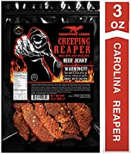 """JURASSIC JERKY'S """"CREEPING REAPER"""" Carolina Reaper Beef Jerky (1)-3oz Bag The Reaper is the HOTTEST Pepper in the world! Sweet with Heat~"""