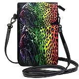 XCNGG Monedero pequeño Crossbody Color Leopard PantherPhonepurse para mujer Bolsos Cuero Multicolor Bolsos para smartphone Monedero con correa extraíble