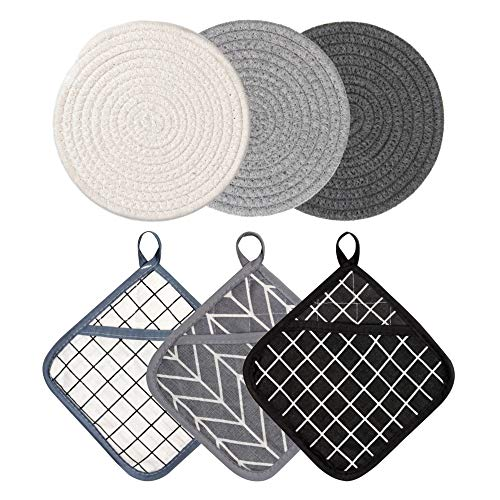 FEILANDUO Pot Holders Set of 6 Cotton Hot Pads and Oven Mitts for Kitchen Heat Resistant Cooking Pocket Flexibility Potholders Thick Plaid Cute Square Farmhouse Linen Pads Coaste (Set of 6)