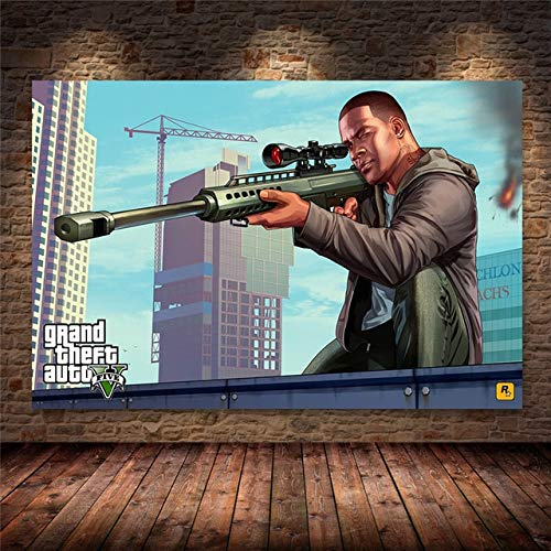 xiangpiaopiao Grand Theft Auto V Videojuego GTA 5 Póster Impreso Cuadro sobre Lienzo para Pared Imágenes Artísticas para Sala De Estar Decoración del Hogar 50X70Cm -Jg3948
