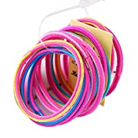 kinmyte 子供女の子弾性ゴムバンド蛍光カラフルなヘアロープ波状スパイラルでこぼこデザイン高弾性ポニーテールホルダーパーティーカジュアル(周囲長:9cm / 3.54in-1バンドル-10ピースs)