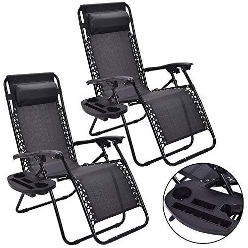 2Pc Zero Gravity Chairs Lounge Patio Reclinable Plegable Silla De Playa Portátil Negra Al Aire Libre con Portavasos