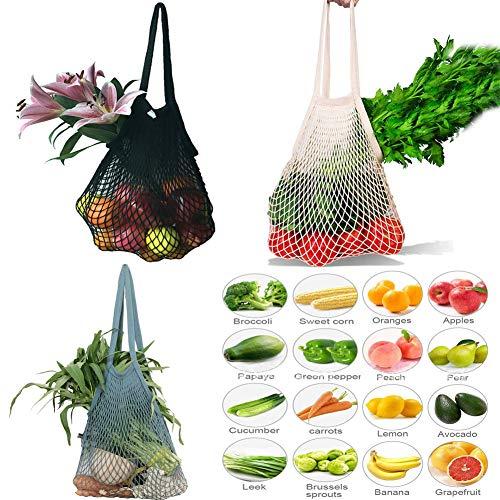 3 bolsas de malla reutilizables, bolsa para la compra, de playa, algodón,...
