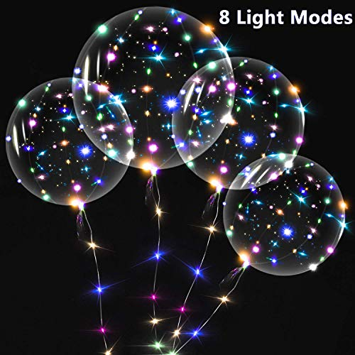 ZMYGOLON 8 Modes LED Balloons Reusable Light Up Helium Balloons with 16.4 Feet String Lights Flashes,IP65 Waterproof for Birthday Wedding Party Decoration - Multi-Colors