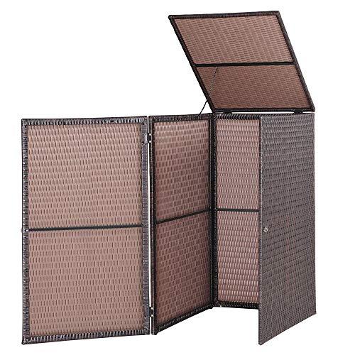 Casaria Mülltonnenbox mit Klappdeckel + Verschluß I für 240 Liter Mülltonne I 115 x 80 x 65cm I Mülltonnenverkleidung Poly Rattan