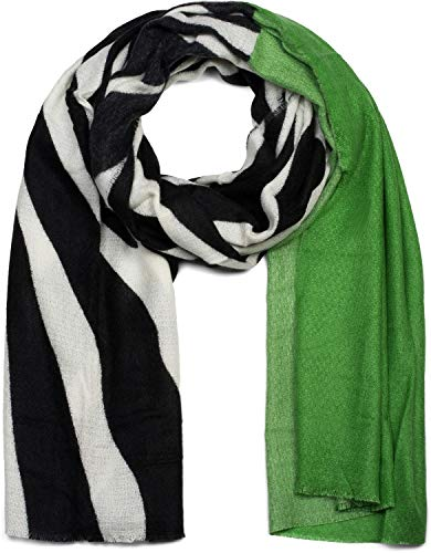 styleBREAKER Sciarpa da donna con motivo zebrato e strisce colorate con frange circolari, sciarpa invernale, stola, foulard 01017112, colore:Verde
