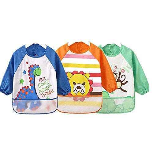 Unisex Kinder-Malkittel, Handarbeiten, Malerei, Schürze, Baby-Lätzchen, wasserdicht, mit Ärmeln und Auffangtasche, 6-36Monate, Marineblau, 3er-Set