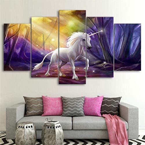 Refosian Decor 5 Póster de lienzo Arte de la pared Decoración 200 * 100 cm Púrpura Fantasía Unicornio Caballo Cuadro de pintura moderna Paisaje Cuadro de lienzo HD Pintura impresa Decoración de l
