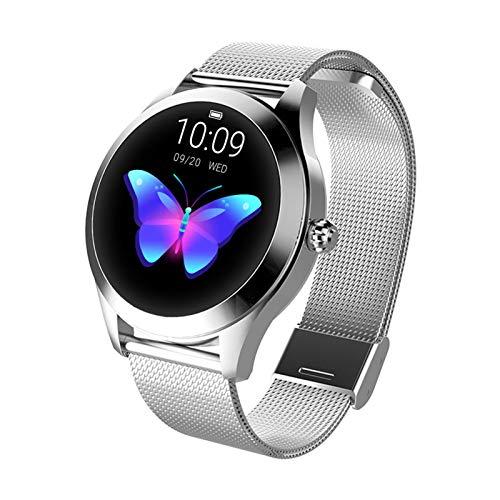 Damenmode Smartwatch, Runder Intelligente Uhr IP68 Wasserdichter Fitness Tracker, Sportarmband mit Herzfrequenz Und Schlafüberwachung, Schrittzähler für iOS Android(Color:Silber)