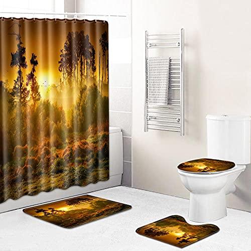 Duschvorhang-Sets,Orange-braunes Dschungel-Sonnenuntergang-Gras 4-teiliges wasserdichtes Badematten-Set Badteppiche Toilettendeckelabdeckung Kontur Duschvorhang Mit 12 Haken Dekoration,180x180 cm