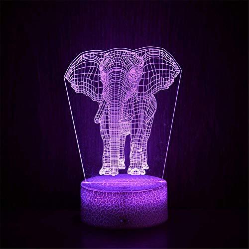 Lámpara de mesa de ilusión 3D, 16 colores cambiantes luz nocturna con control remoto, regalo de cumpleaños para niños elefante