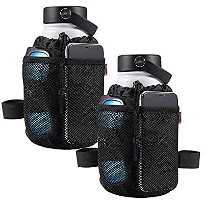 """kemimoto 2 Pack Bicycle Cup Holder, 6.3"""" Bike Water Bottle Holder, 4-Straps Bicycle Handlebar Cup Holder Drink Holder with Mesh Pockets for Cruiser, Mountain, Fixed Gear, Folding, Road Bikes"""