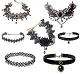 Romp Fashion 7 Pieces Black Lace Party Ware Choker Pendant Necklace Set
