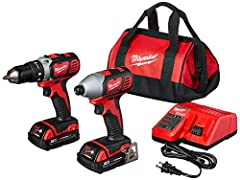 Compact drill/driver delivers 400 inch-pounds of torque, weighs 4 pounds, 7-3/4 inches long 1/4-inch hex compact impact with 4-pole frameless motor delivers 1400 inch-pounds of torque Lightweight durability, built-in LED lights, battery fuel gauges a...