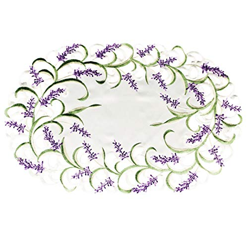 Embroidered Placemat Doily with Lavender Lilac Flowers on Cream 12 x 21 Inch Machine Washable