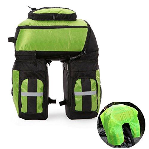 Vitalite - Borsa posteriore tripla da sella per bicicletta, ciclismo, 70 l, multiuso, con copertura antipioggia, Green