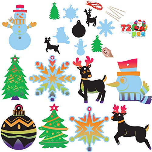 Rainbow Color Scratch Christmas Ornaments, 72 Pack Craft Kit Toys Include Snowman, Snowflakes, Christmas Tree, and Reindeer
