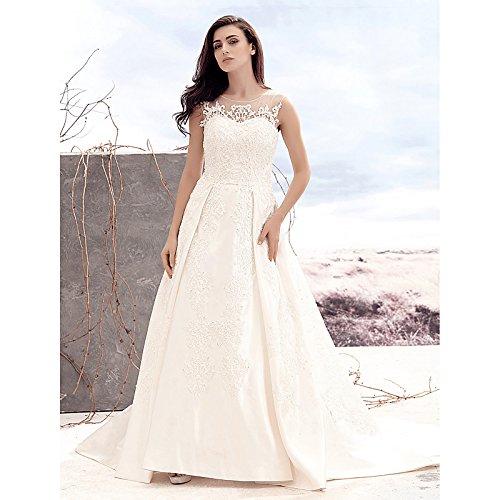 kekafu A-Line Scoop Neck Hofschleppe Satin Tüll Hochzeit Kleid mit Zierblenden Taste durch LAN TING Braut, Rot Rosa, US6/UK 10 / EU 36