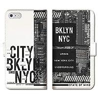 301-sanmaruichi- iPhone12 手帳型ケース iPhone 12 手帳型 PUレザー ケース おしゃれ ニューヨーク ブルックリン NYC メンズ かっこいい ロゴ B 手帳ケース