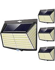Lampe Solaire Extérieur, [ 4 Pack 228 LED ] Eclairage Exterieur avec Détecteur de mouvement, Solaire Exterieur pour Jardin, Etanche Grand Angle 270° Lampe de Sécurité en Appliquée Patio Mur Cour
