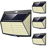 Vighep Luz Solar Exterior 228 LED,【4 Pack / 3 Modos】270 °lluminación Focos Solares Exterior con Sensor de Movimiento Impermeable Luces Solares LED Exterior Aplique Lampara Solar para Exterior Jardin