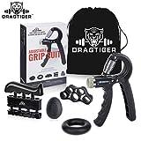 Dragtiger Hand Grip Strengthener Workout Kit (5 Pack) Forearm Grip Adjustable Resistance Hand Gripper, Finger Exerciser, Finger Stretcher, Grip Ring & Stress Relief Grip Ball for Athletes and Musician