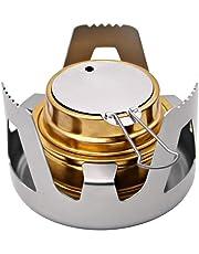 アルコールストーブ バーナー 黄銅 アルマイト 五徳付き 火力調整 コンパクト 軽量 防風対応 アウトドア キャンプ 防災 調理クッキングツール バーベキューコンロ