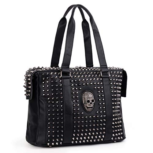 UTO-Handbags-for-Women-Tote PU Leather Skull Rivet Studded Top Handle Crossbody Shoulder Bag Purse