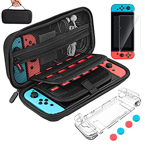 Carrying Case for Nintendo Switch, LaluceNatz 4in1 Hard Switch Pouch, Travel Game Bag with 20 Game Cartridges, Screen Protector, Clear Case, 4 Thumb Grip Covers, Nintendo Switch Accessories Bundle