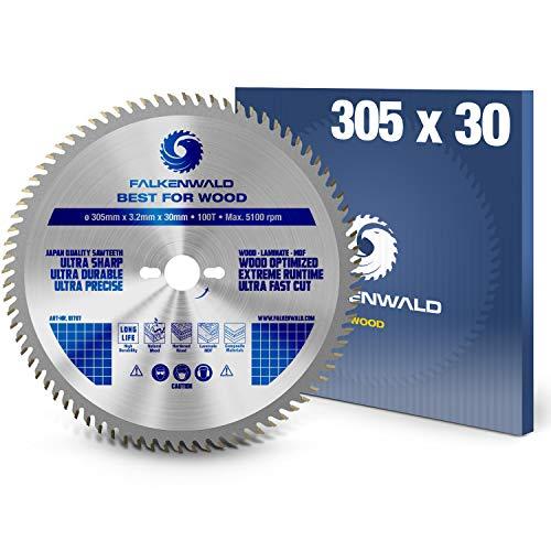 FALKENWALD® Hoja de sierra circular (305 x 30 mm, para madera (Wood) optimizada con 100 dientes de metal duro, compatible con Bosch GCM 12 GDL, Metabo KGS 305 y muchas otras sierras circulares de mesa