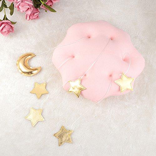 TOYANDONA - Móvil de Techo para Cuna, diseño de Estrellas y Luna, para Colgar en el Techo, decoración de la habitación de los niños (Nubes de Color Rosa y Estrellas Doradas)