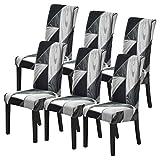 SearchI - Funda de silla para comedor, 6 unidades, funda de silla extensible, universal, lavable, moderna, para hotel, banquete, cocina, color blanco y negro
