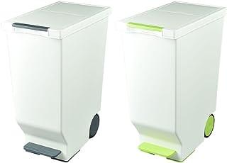 日本製 ダストボックス 平和工業 スライドペダルペール 45L 2個セット ゴミ箱 ごみ箱 おしゃれ (ブラック(グレーに近い色味)×グリーン)