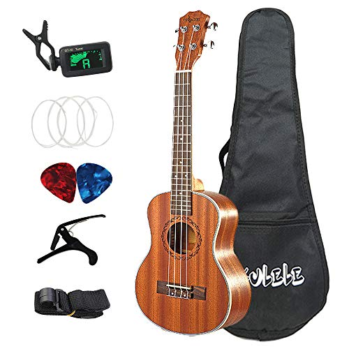 Kaxofang 26 Zoll Ukulele Set 19 Fret Tenor Mahagoni Holz Ukulele Akustik Cutaway Gitarre Palisander Griff Brett Metall Pegs Hawaii 4 String Gitarre