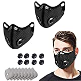 Dustproof protection, 2 PC Adjustable Resuable & Washable protection with 8 Filters and 8 valves for Allergies Woodworking Running Sanding Mowing-Black