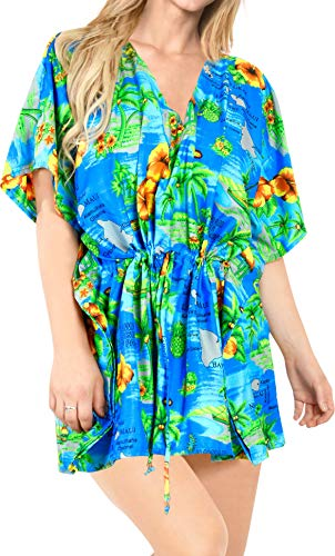 LA LEELA Damen Robe Kaftan Schwimmen Und Hawaii Frauen Wear Weich Blau Up Abdecken Blau_P418 DE Größe: 42 (L) - 52 (4XL)