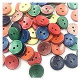 DZJUKD Accesorios de Vestir Mezclar Color 2 Agujeros Botones de Madera Ropa Herramienta de Costura 15mm para Decoraciones artesanales de Bricolaje (Color : 50 pcs)