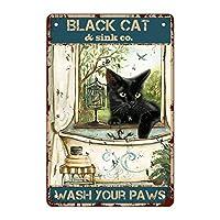 面白いバスルームアンティーク金属スズマークを引用して壁装飾-黒猫あなたの爪を洗う、家、バスルーム、教室、オフィス、カフェ、バー装飾芸術マーク、最高の農家の装飾プレゼント女性と男性の友人