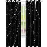 YUAZHOQI Cortina opaca patrón natural de mármol blanco y negro textura para interiores o producto diseño abstracto oscuro backg 52' x 95' cortinas personalizadas