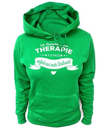 Artdiktat Damen Hoodie - Ich brauche keine Therapie - Ich muss einfach nur nach Stralsund Größe XXL, grün