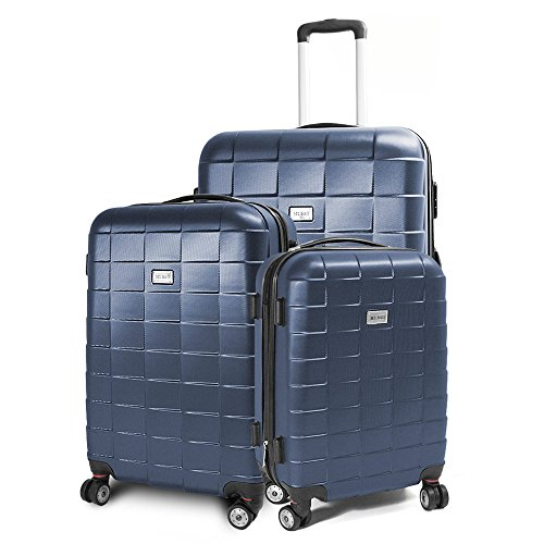 BERWIN Kofferset 3-teilig Reisekoffer Koffer Trolley Hartschalenkoffer ABS Teleskopgriff Modell Squares (Dunkelblau)