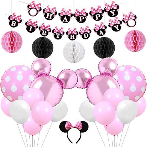 Kreatwow Pink Minnie Motto Party Supplies Dekorationen Minnie Happy Birthday Banner Stirnband für 1. 2. 3. Geburtstag Baby Shower