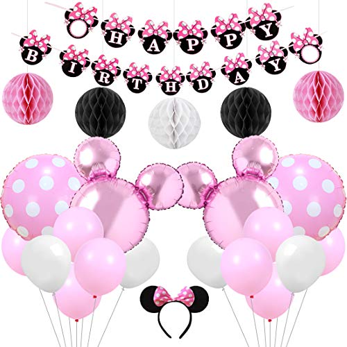 Pink Minnie Themed Party Supplies Decorations Minnie Happy Birthday Banner Headband for Birthday
