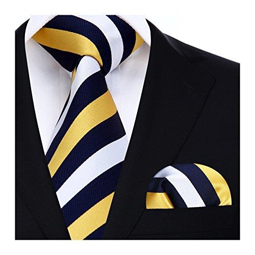 HISDERN Herren Krawatte Gestreifte Hochzeit Krawatte & Einstecktuch Set Marineblau & Gelb & Wei?