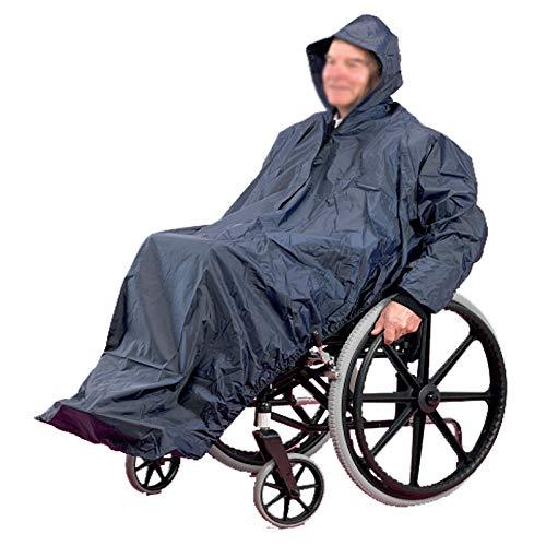 Poncho impermeable para silla de ruedas para adultos, Ancianos Mayores Capa Poncho para silla de ruedas Abrigo de lluvia para silla de ruedas con capucha suave, impermeable ultraligero para si