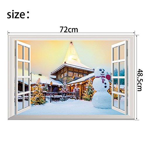 Natale Finta Finestra 3D Wall Stickers Personalizzati Decorazione Casa Natale Wall Stickers Figurine 72 * 48.5cm