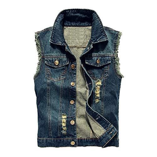 Jade Hare Men's Casual Button Up Loose Denim Vest Sleeveless Ripped Jean Waistcoat Jacket Motorcycle (Dark Blue, Small)
