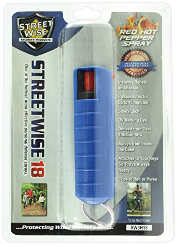 Streetwise Security Products Lab Certified Streetwise 18 Pepper Spray, 1/2-Ounce Hard Case, Blue